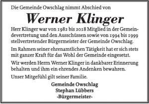 Bild - Traueranzeige der Gemeinde Owschlag für Werner Klinger